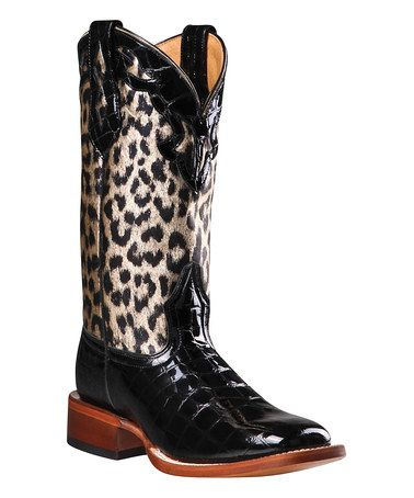 Another great find on #zulily! Black & Leopard Leather Western Boot by Johnny Ringo Boots #zulilyfinds