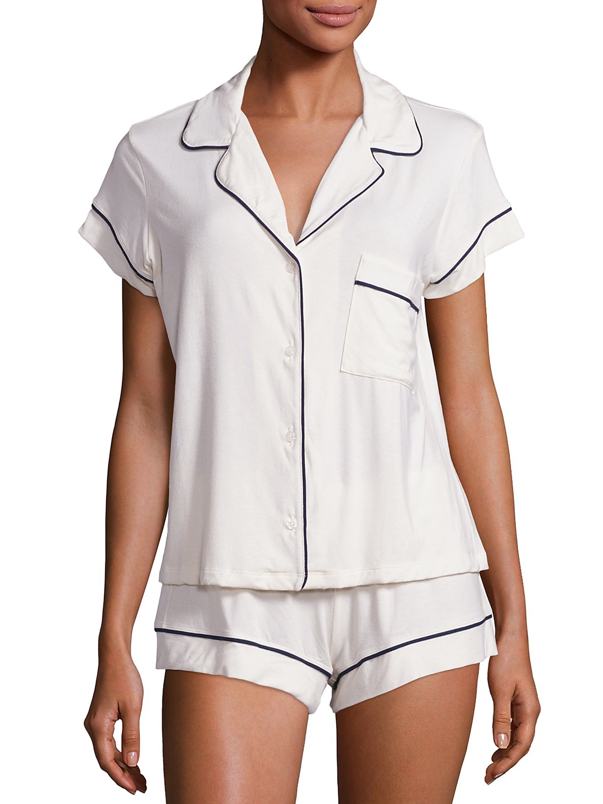 772fd73478 Eberjey Gisele Short-Sleeve Pajama Top And Shorts - Navy Small in ...