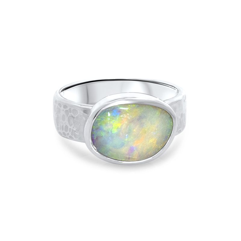 f97fecd12de39 Sterling Silver - Light Opal Hammered Band Ring | Jewels - 03 ...