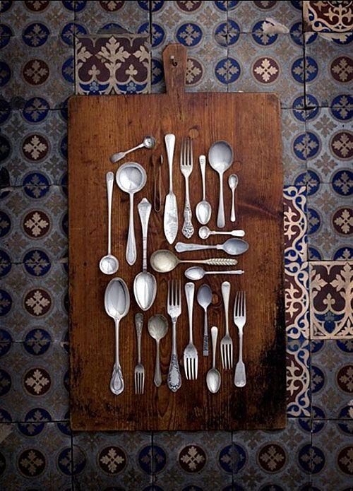 Design Traveller Vintage Cutlery Silverware Art Kitchen Wall Art