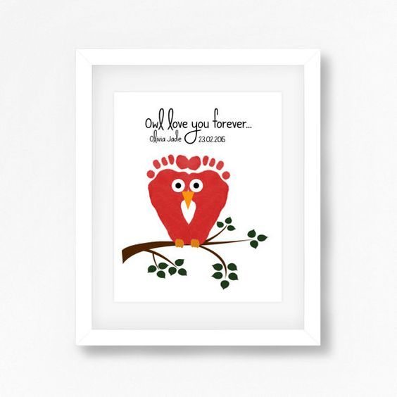 New Mum Christmas Gift, Moms First Christmas Gift from Baby, Personalised  Gift for Grandma, Owl Nursery Decor, Baby Footprint Owl Wall Art - New Mum Christmas Gift, Moms First Christmas Gift From Baby