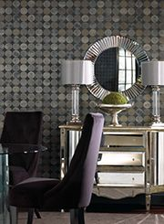 Monochromatic Wallpapers Give Mirrored Furniture Bold Presence In