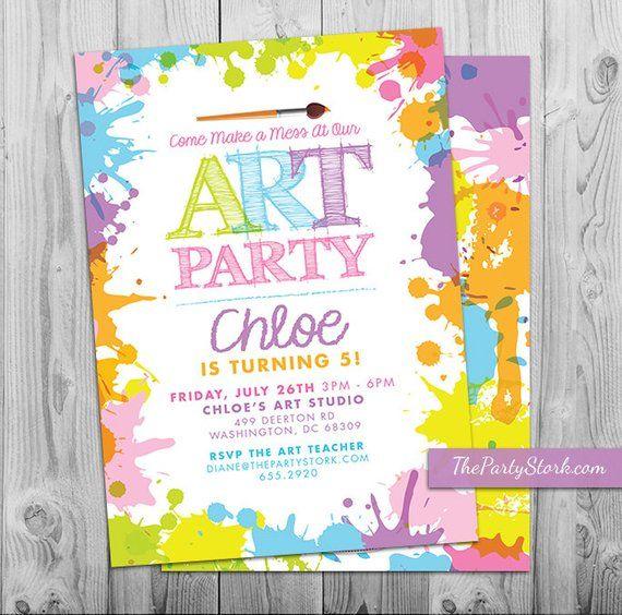 Art Paint Party Invitations Printable Birthday Invitation Pastel