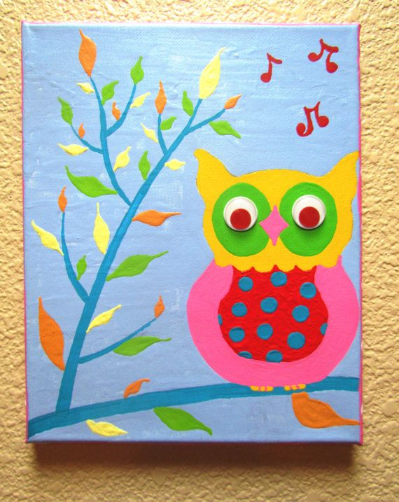 Wise owl hand painted acrylic painting on canvas for for Canvas painting for kids