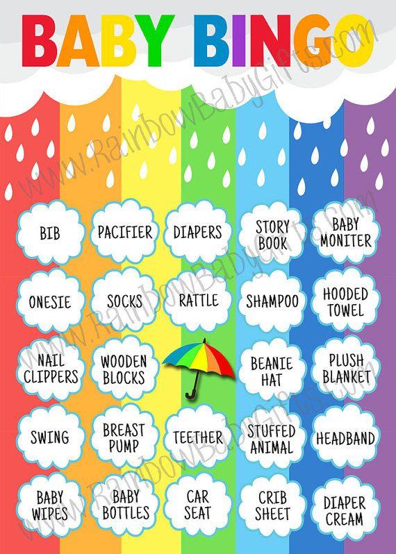 graphic relating to 50 Free Printable Baby Bingo Cards called Youngster Shower Bingo, Rainbow Kid Shower Bingo, Little one Bingo
