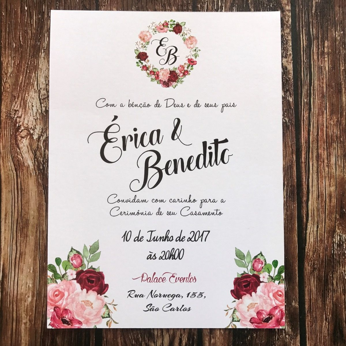 Vintage Wedding Invitation Template, Rustic Wedding