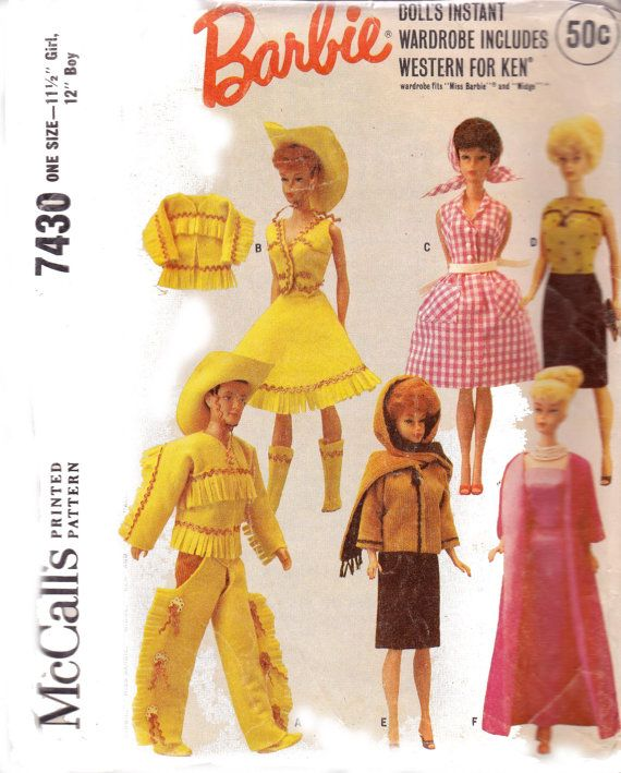 Vintage 60s Barbie & Ken Doll Cowboy Cowgirl outfits Patterns ...