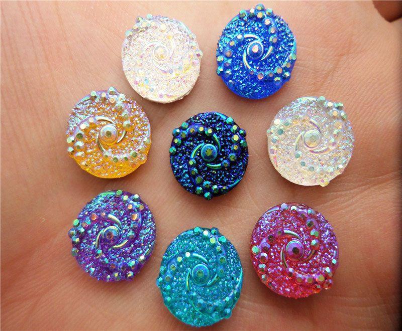 50PCS AB Resin Round Beads flatback Scrapbooking for Scrapbook Craft 12mm