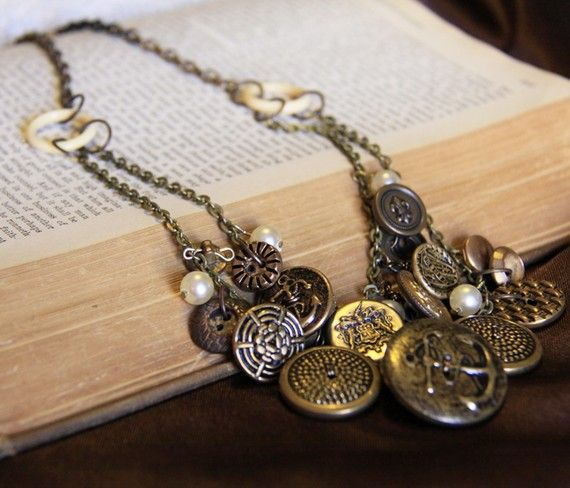 Antique Metal Button Necklace by Objects and Subjects