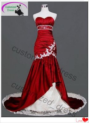 1988c6dc958 White Red Mermaid Bride Wedding Dress Quinceanera Evening Ball Gown ...