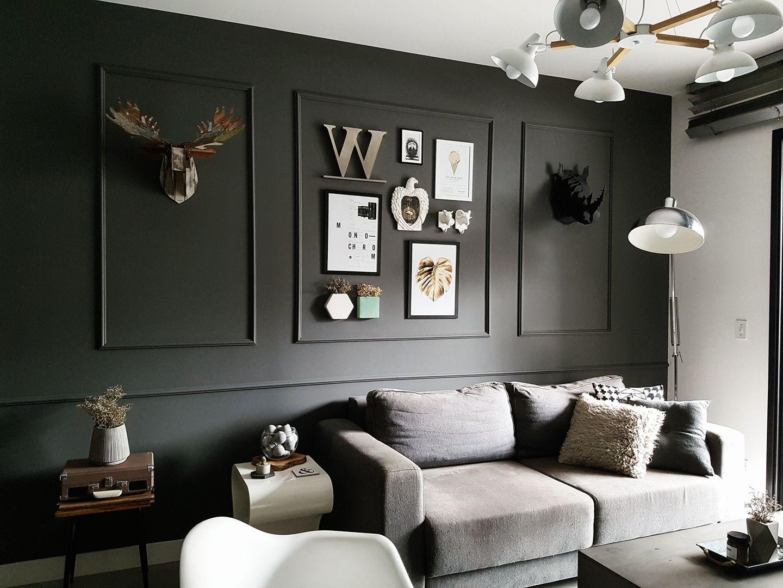 Molduras na parede preta minimalista e n rdico diy - Nordicos modernos ...