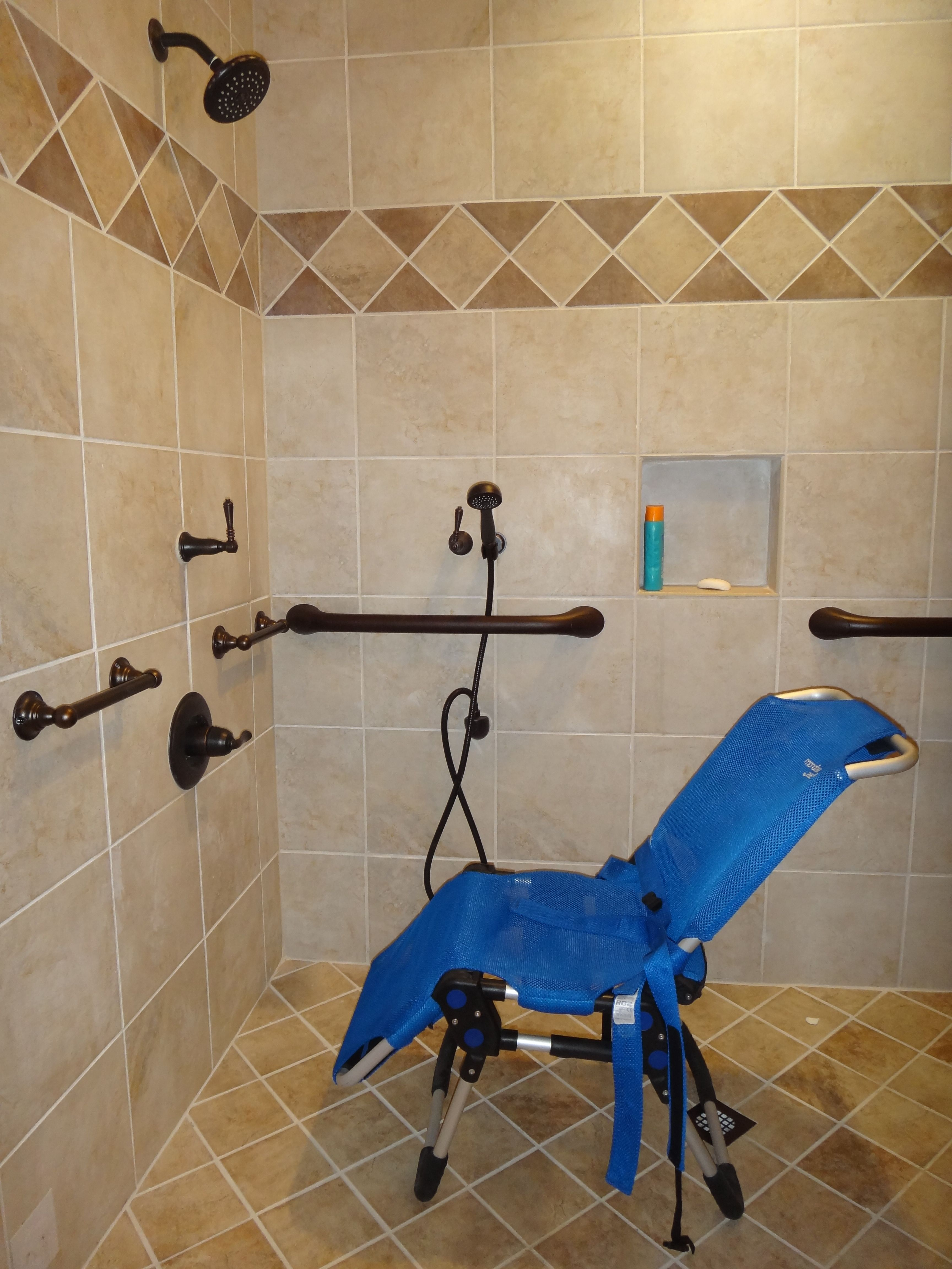 Handicap Shower Chair Black Cloth Covers Roll In With Bath Accessible Bathroom Ideas