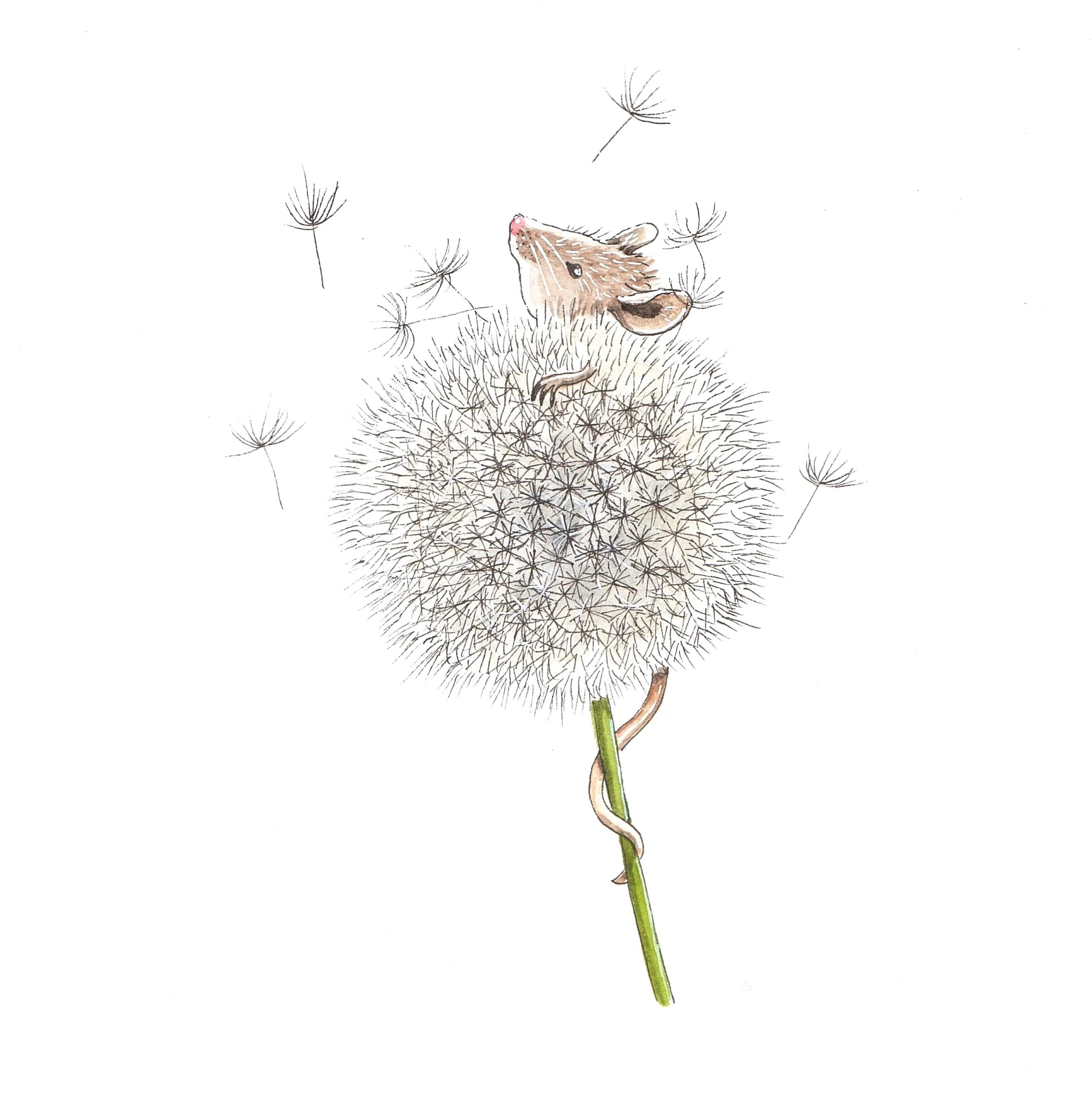 Mouse Dandelion Illustration