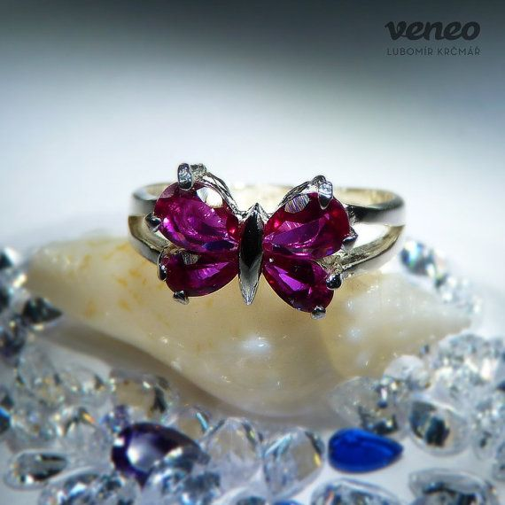 Little Butterfly. Silver or Gold Ruby all sizes by Veneo on Etsy, $47.00