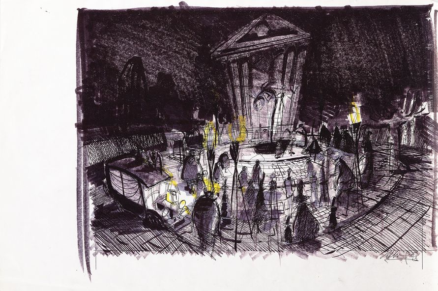 concept sketch for halloween town square from the nightmare before