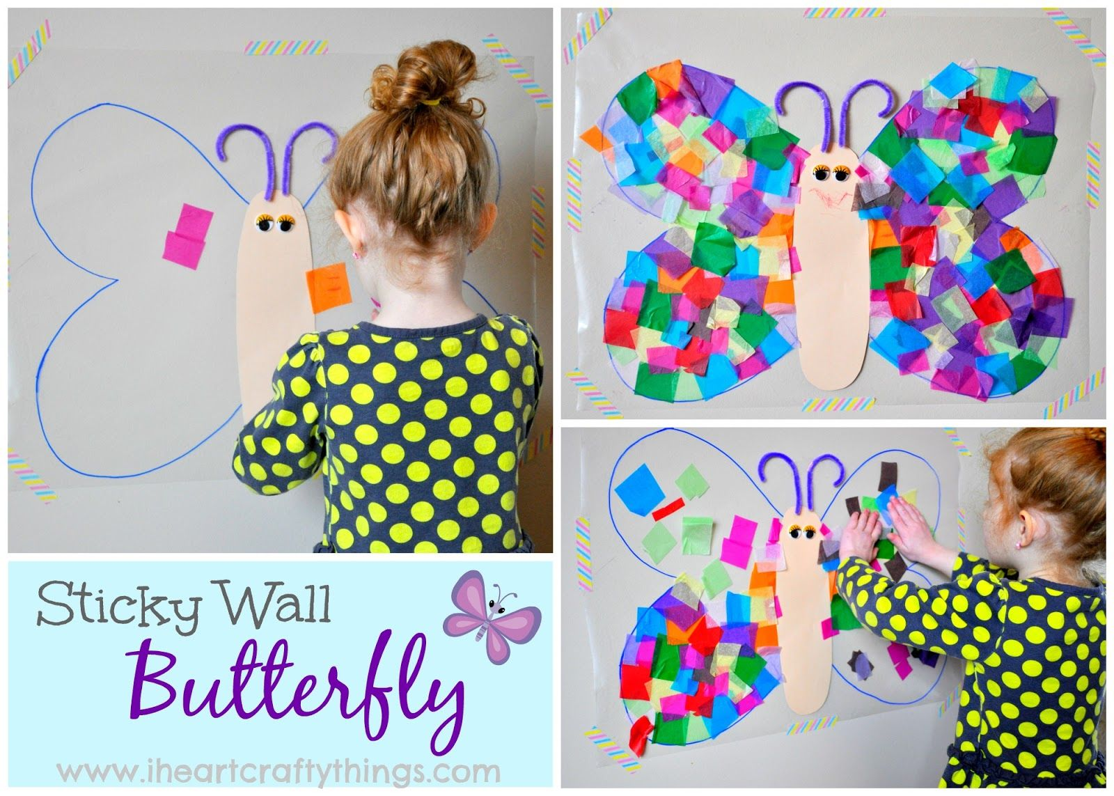 Contact paper sticky wall butterfly craft butterfly crafts contact paper sticky wall butterfly craft jeuxipadfo Image collections