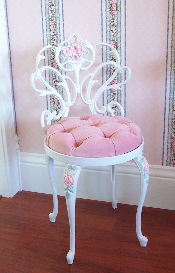 pink vanity chair  Vintage White Scrolly Boudoir Vanity Chair Stool with Hand Painted ...