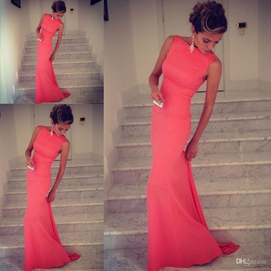 Wholesale Evening Dresses - Buy Formfitting Sheath High Neck Formal Long Coral Evening Dress Event Gown WL164, $116.0 | DHgate