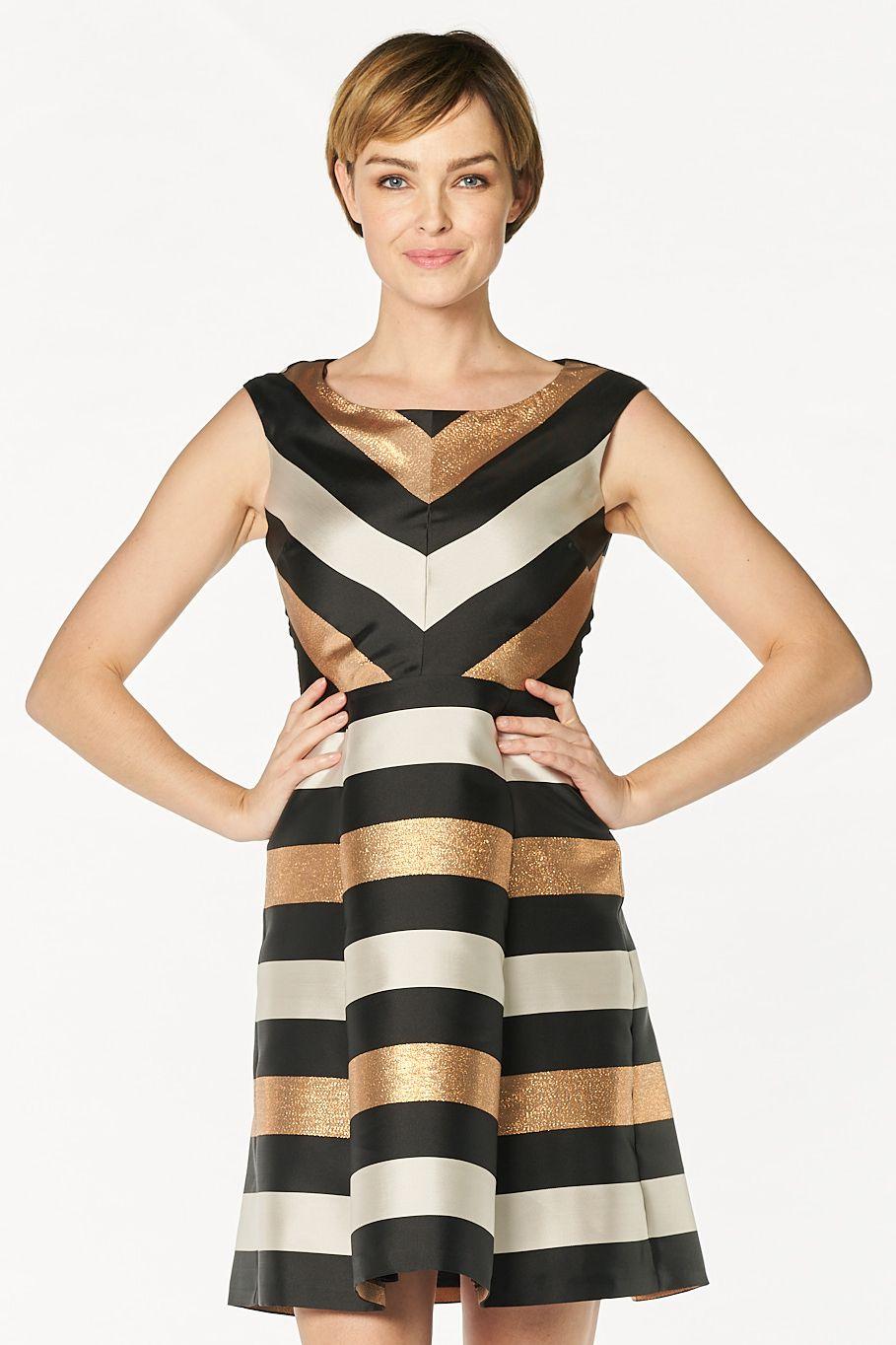 Vera Mont Cocktailkleid gold, schwarz, weiß | Vera mont, elegantes ...