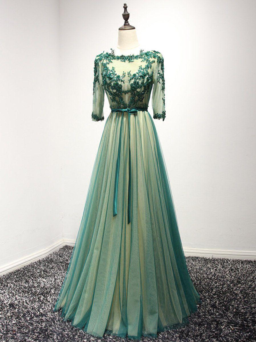 Chic green prom dress aline bateau tulle half sleeve long prom
