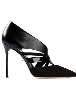 Amazing Sergio Rossi Leather Suede Black Cutout And Pumps
