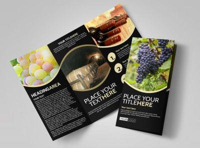 winery wine making tri fold brochure template visual aid