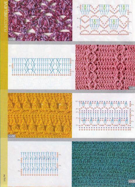 patrones asgaya: puntos relieve crochet | punto y puntilla ...