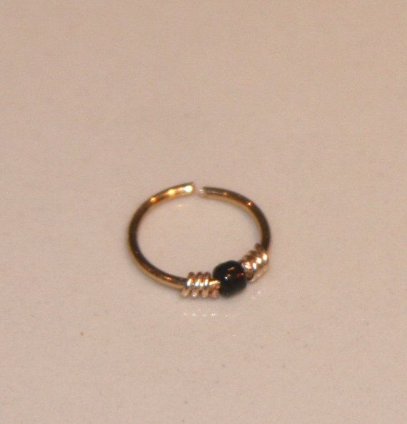 20 22 24 gauge Small Nose Ring Black Beaded by BirchBarkDesign
