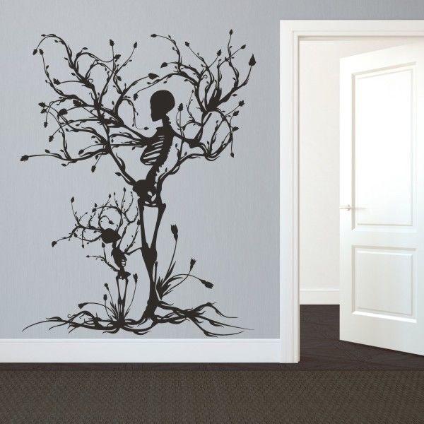 Halloween Skeleton Wall Decal Removable Vinyl Tree Of Life Room Mural Art Decor Ebay Tree Wall Art Mural Art Halloween Wall Decor