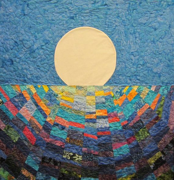 Moon Set Art Quilt by JaneHicksQuilts on Etsy