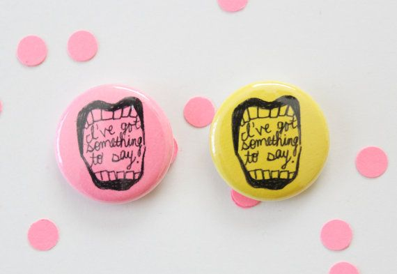 Mouth One Inch Button in Yellow or Pink