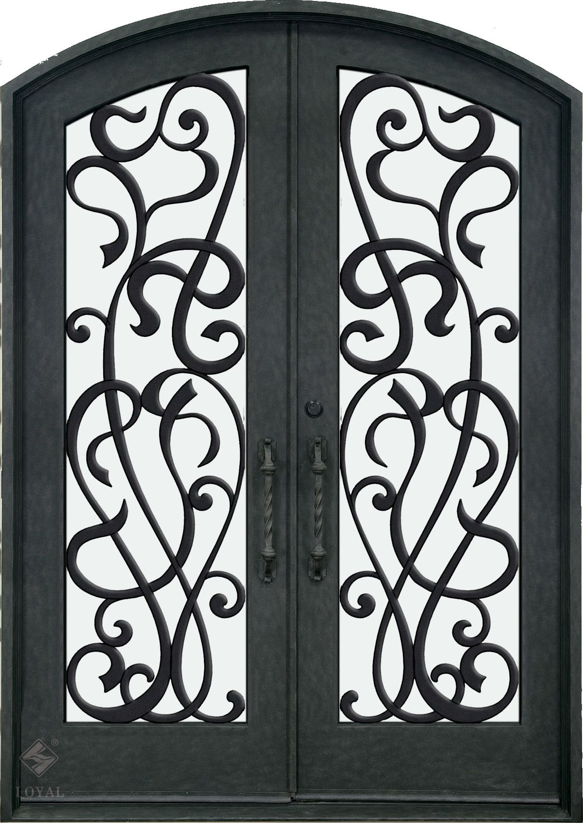 Double white wrought iron gate iron doors wrought for Wrought iron entry doors