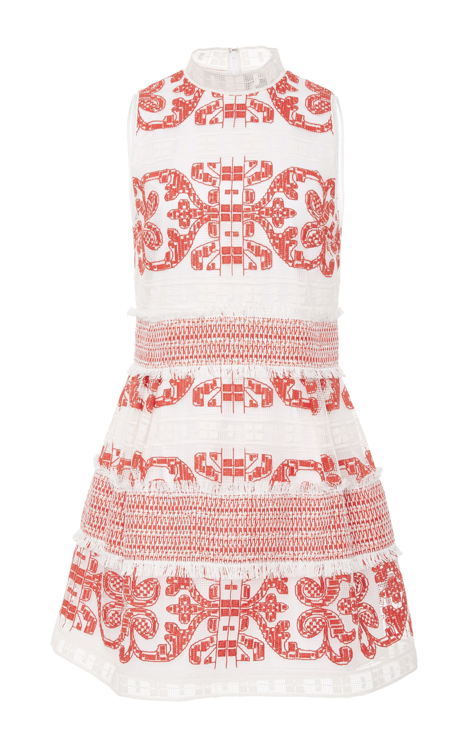 9c607aa1f02 This   Alexis   Minika Embroidered Mini Dress features a band collar