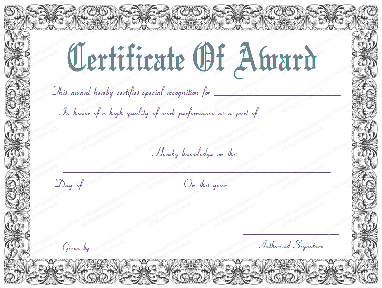 The Free Award Certificate Template For Best Work Performance, Which Is As  Equally As Great, As The Our Other Certificates Is Located At Here. Design Inspirations