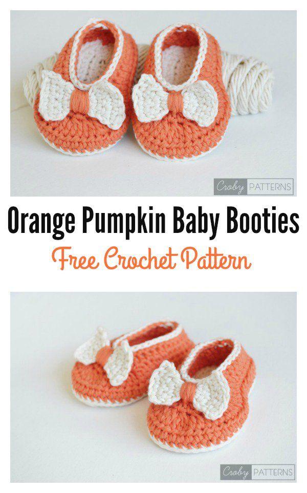 Orange Pumpkin Baby Booties Free Crochet Pattern | Tutoriales