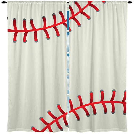 Baseball Window Curtain Valance