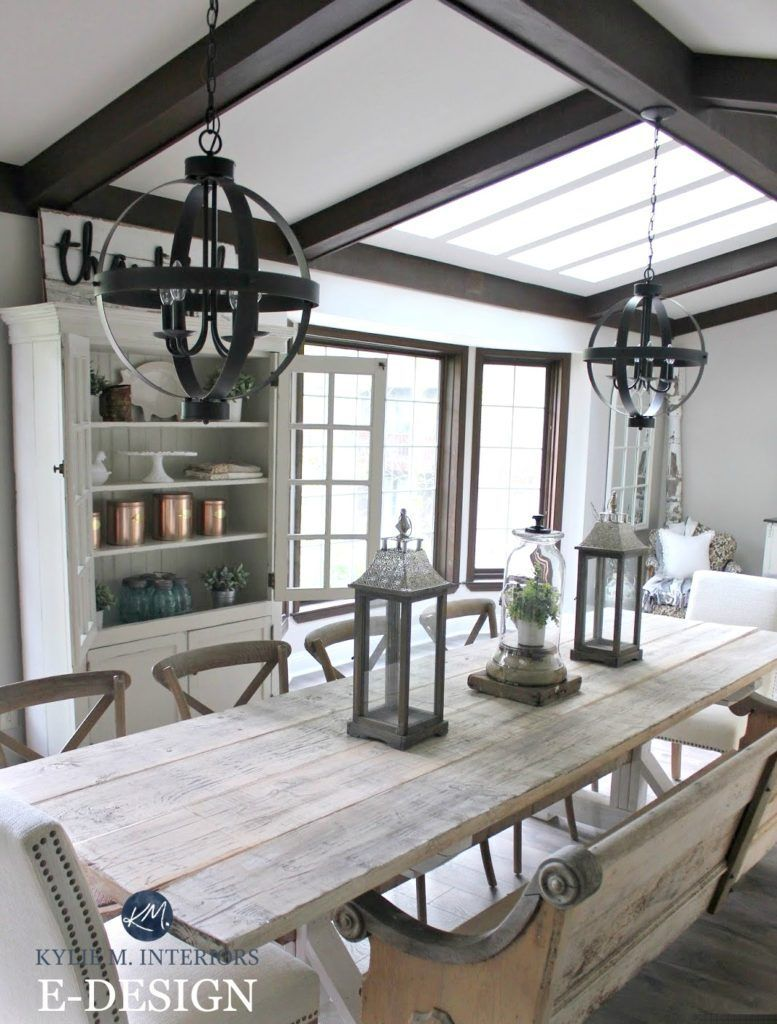 Sherwin Williams Agreeable Gray Via Kylie M Interiors E Design And Online Color Consulting Shown Wit Dark Wood Trim Dining Room Makeover Farmhouse Dining Room