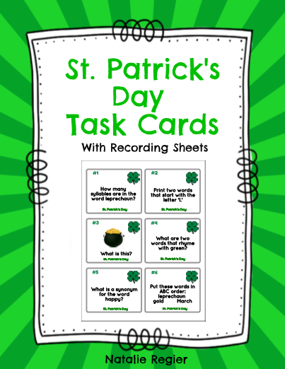 St. Patrick's Day Task Cards - The St. Patrick's Day Task Cards package contains 24 task cards and a recording sheet. Students look at each task and record their response on the recording sheet. Questions focus on a variety of skills including compound words, rhyming, ABC order, writing sentences, prefixes, plurals, etc. #teachersherpa