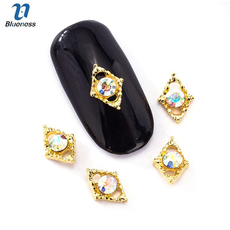 10 Unids/lote Alloy Gold Silver 2 Colores Elección Diamante Rhinestone Manicura artículos de Arte De Uñas Nail Art Decoración Espárragos TN1923
