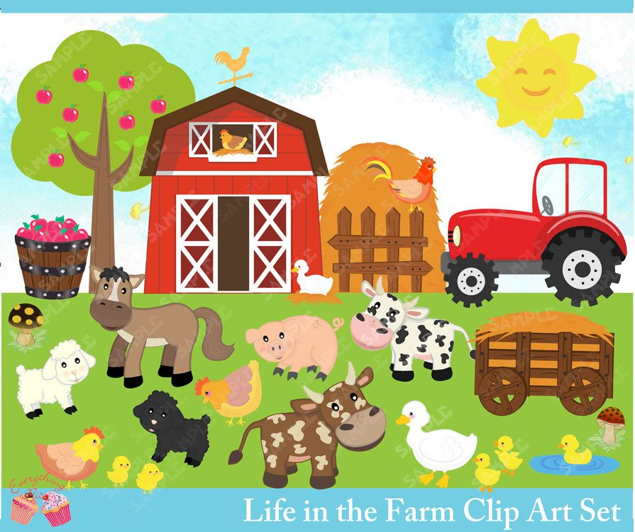 Life In The Farm Clipart Set Etsy In 2021 Clip Art Farm Art Animal Clipart