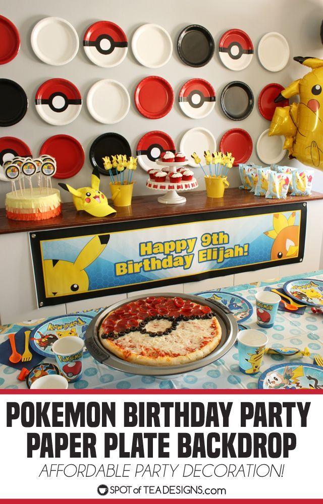 Pokemon Birthday Party | Paper Plate Backdrop | Spot of Tea Designs