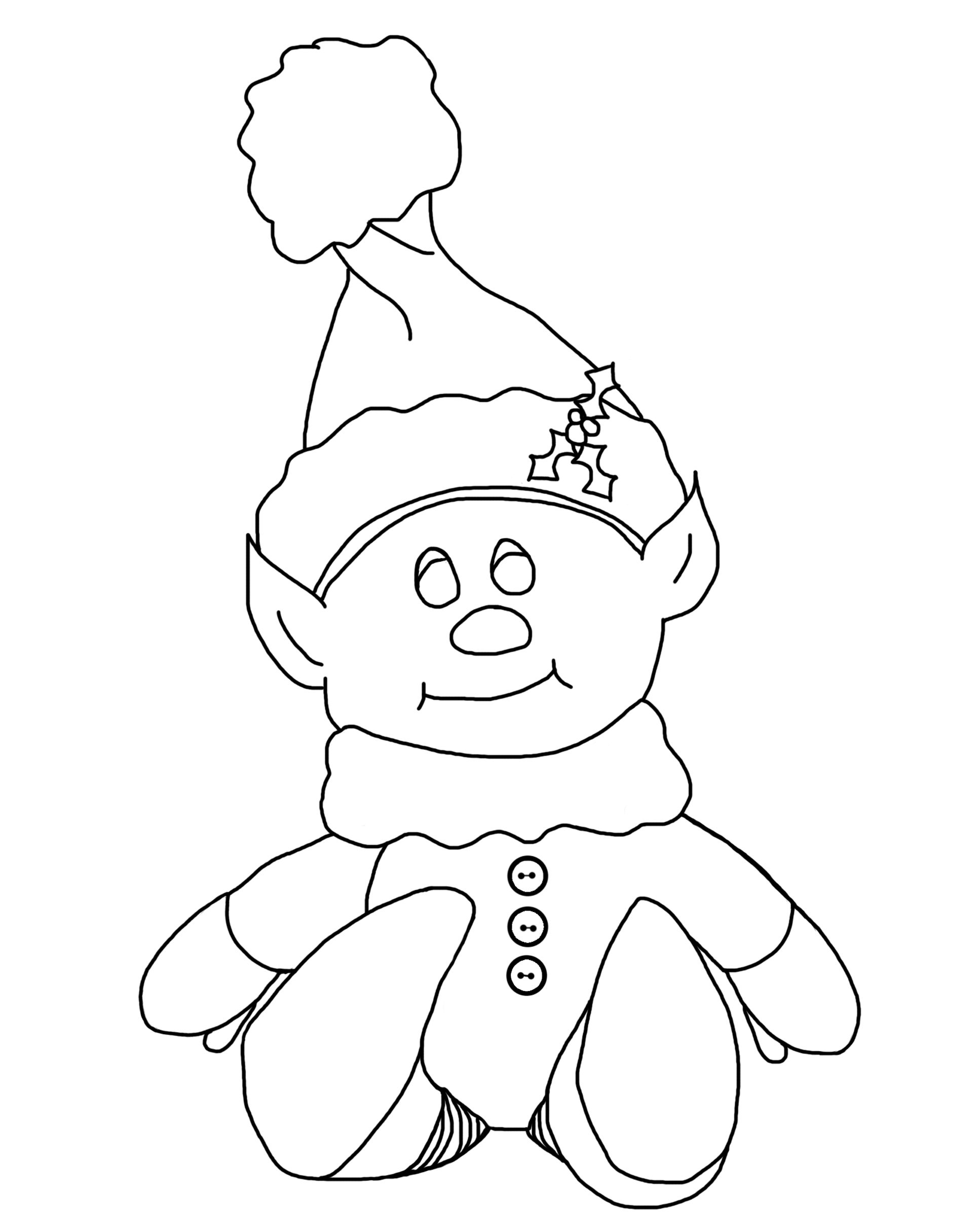 Printable christmas elf coloring pages - Creepy Little Elf Coloring Page