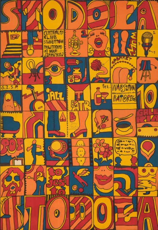 Original Vintage Poster Polish Sawka Signed Squares 70s