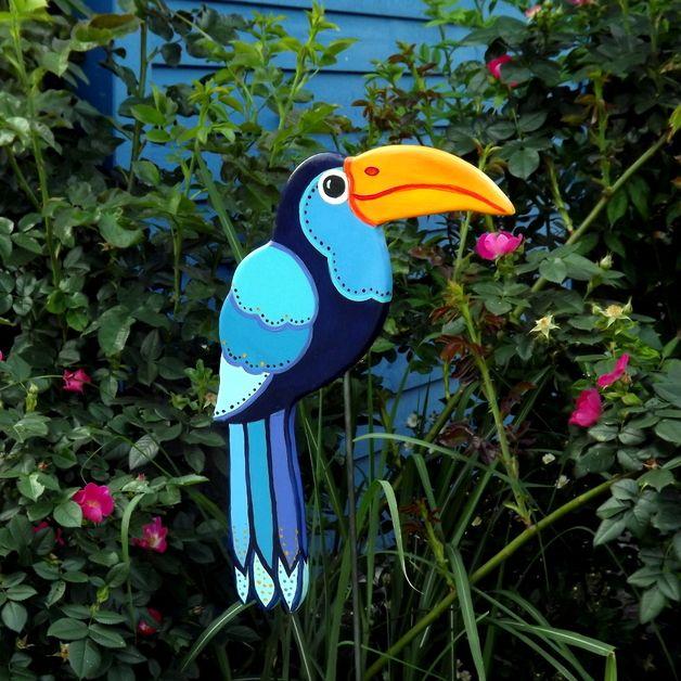 """gartenstecker tukan """"azulito"""", gartendeko blau, Gartenarbeit ideen"""