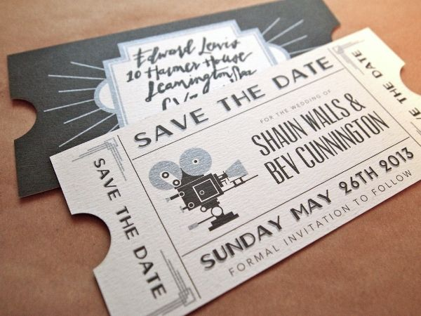 Save The Date en forma de entradas de cine vintage / Wedding Stationary / LBDA - La Boda Del Año /
