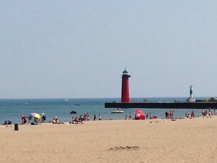 Light House And Simmons Island Beach Kenosha Wi