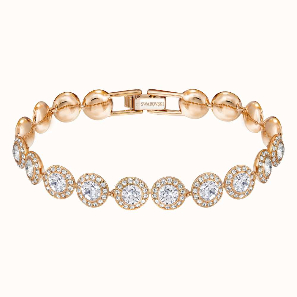 Swarovski Jewellery Angelic Rhodium Plated Rosegold Tone White Bracelet 5240513 With Images Swarovski Bracelet Gold Plated Bracelets White Bracelets