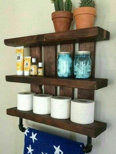 Repisa para ba o en madera de palet 700 00 en mercado for Confeccionamos muebles de bano en palet