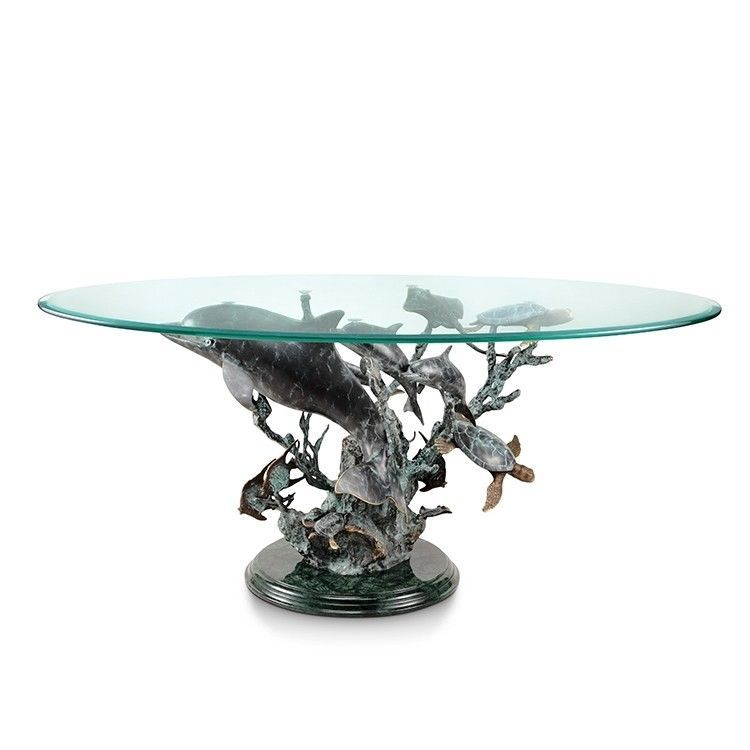 Dolphin Coral Seaworld Brass Marble Coffee Table Turtle Nautical Sculpture,42''W #SPIHome # ...