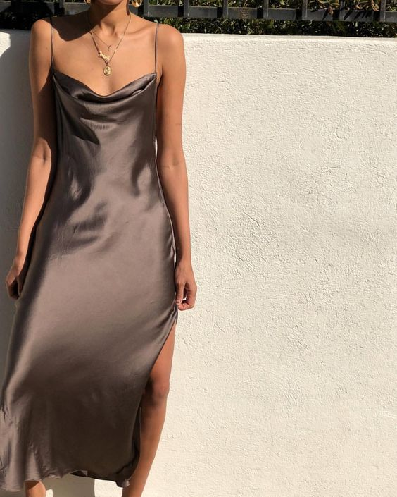 brown slip gown put on sneakers when going out day trippin put on sliders when goin...  #dresses #fashiontag